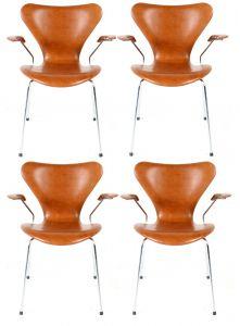 4 stk. Arne Jacobsen Syveren 3207 Legance Cognac Anilin