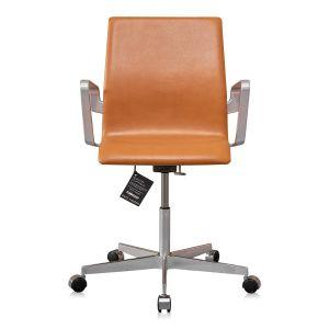 NY Arne Jacobsen Oxford kontorstol med lav ryg Classic Cognac