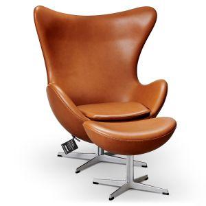 NY Arne Jacobsen Ægget Classic Cognac Semi Anilin med skammel