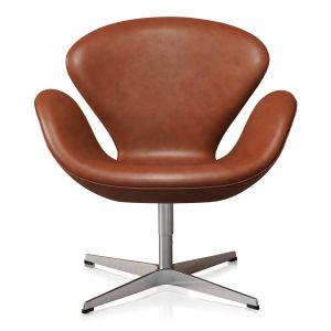 Arne Jacobsen Svanen i Classic Cognac Semianilin Läder